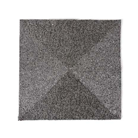 Pewter Square Beaded Pack of 2 Placemats