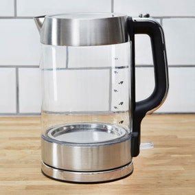 Dunelm 1.7L Brushed Steel Glass Jug Kettle