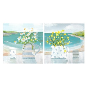 Floral Jugs Printed Canvas Two Pack