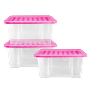 Pink 20 Litre Storage Box 3 Pack