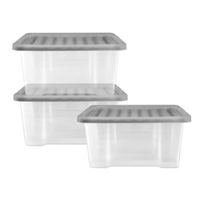 Silver 20 Litre Storage Box 3 Pack