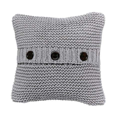 Grey Chunky Knit Cushion