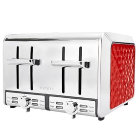 Elements Red 4 Slice Toaster