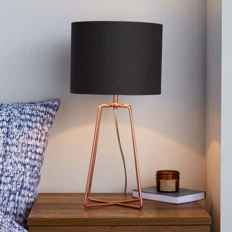 Hester Wire Base Table Lamp Copper Dunelm