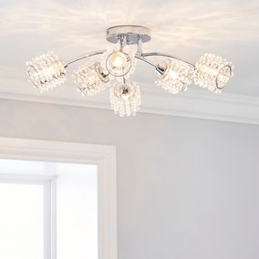 Jaimee 6 Light Chrome Ceiling Fitting