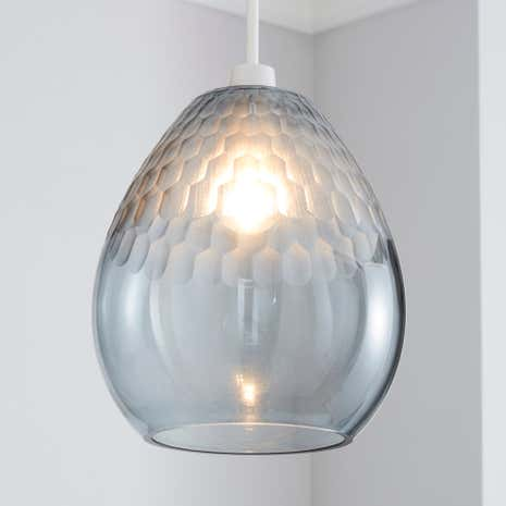 Glass lamp shades dunelm jasmine grey faceted glass pendant mozeypictures Choice Image