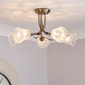 Lindy 5 Light Antique Brass Ceiling Fitting