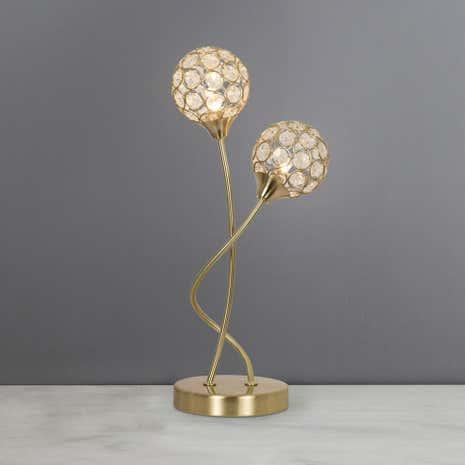 Bathroom Lights Dunelm sphere 2 light satin brass table lamp | dunelm