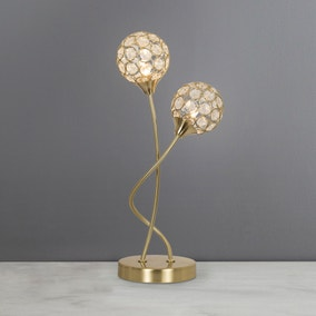 Sphere 2 Light Satin Brass Table Lamp