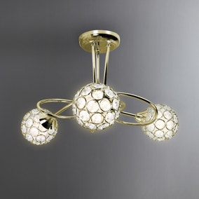 Sphere 3 Light Satin Brass Ceiling Fitting