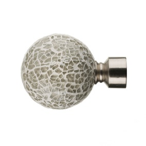 Mix and Match Dia. 16/19mm Ivory Mirrored Ball Finials