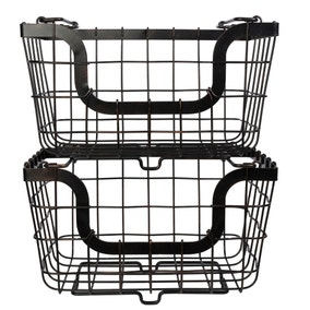 Dunelm 2 Black Stacking Baskets