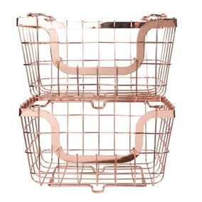 Dunelm 2 Copper Stacking Baskets
