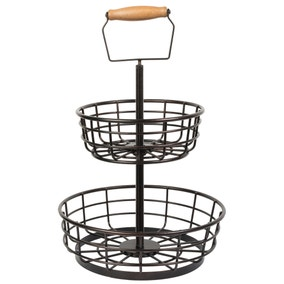 Dunelm 2 Tier Black Basket