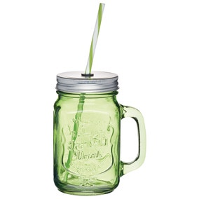 Homemade Coloured Glass Drinks Jar with Straw