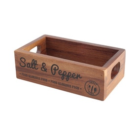 T&G Acacia Salt and Pepper Crate Box