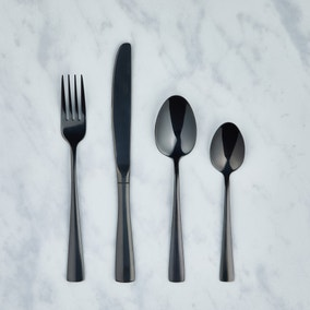 Black 16 Piece Cutlery Set