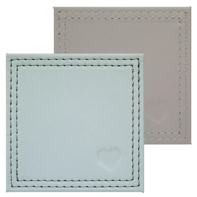 Country Heart Pack of 4 Faux Leather Coasters