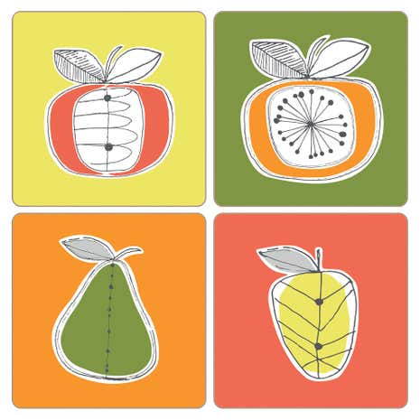 Elements fruit Pack of 4 Coasters