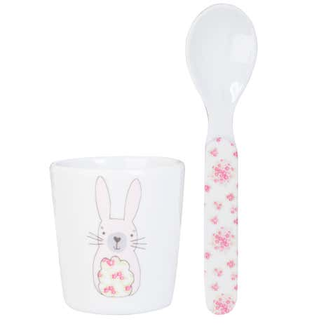 Katie Rabbit Melamine Eggcup and Spoon Set