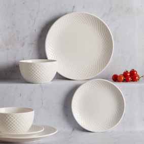 Quilted 12 Piece Dinnerset White