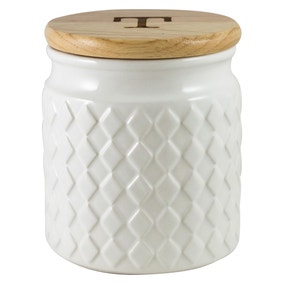 Quilted White Tea Canister