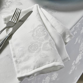 Rose Jacquard Pack of 4 White Napkins