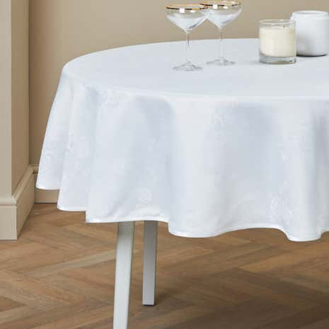 Rose Jacquard White Round Tablecloth