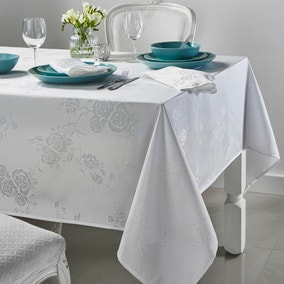 Rose Jacquard White Square Tablecloth