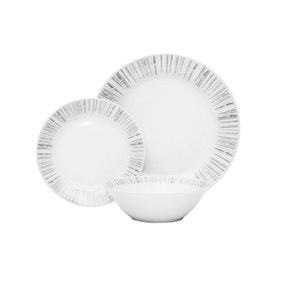 Stripe Porcelain 12 Piece Dinner Set