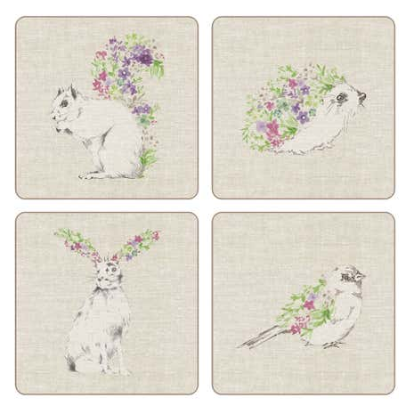 Pack of 4 Woodland Animals Coasters