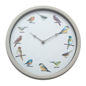 Grey Bird Clock