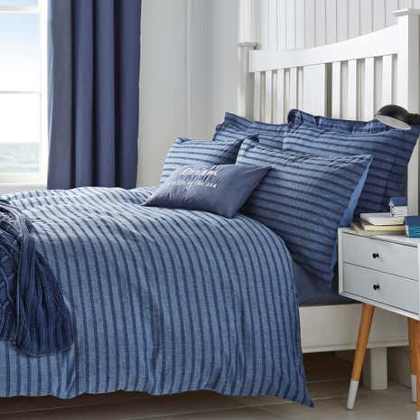 Arlo Seersucker Blue Duvet Cover and Pillowcase Set