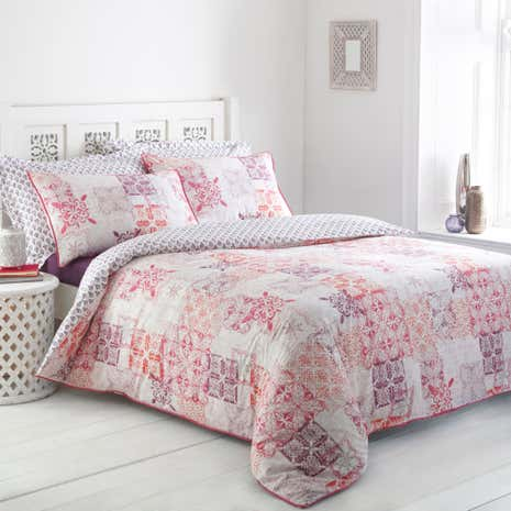 Athena Patchwork Reversible Duvet Cover and Pillowcase Set