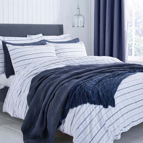 Colton Pinstripe 100% Cotton White Duvet Cover and Pillowcase Set
