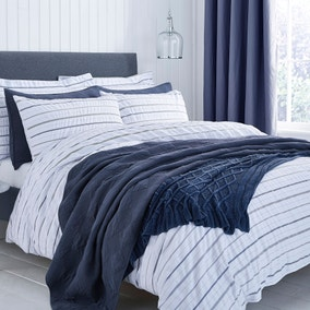 Colton Pinstripe White Duvet Cover and Pillowcase Set