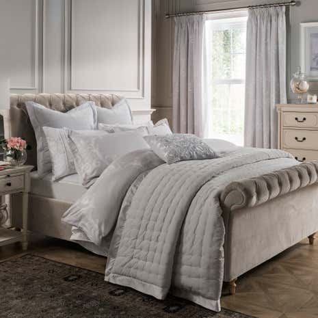 Dorma palais grey velvet bedspread dunelm for Bedroom ideas velvet bed