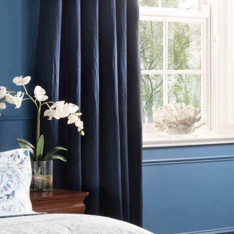 Dorma Vermont Navy Blackout Pencil Pleat Curtains