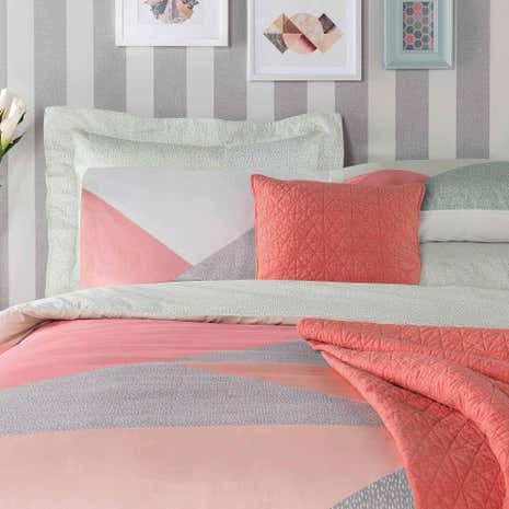 Elements Colour Block Duvet Cover and Pillowcase Set
