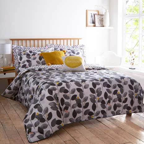 Elements Leaf Grey Duvet Cover and Pillowcase Set