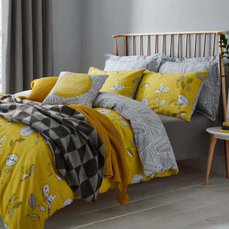 Elements Sunflower Yellow Reversible Duvet Cover And Pillowcase Set