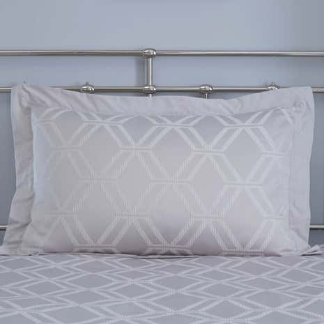 Geo Jacquard Grey Oxford Pillowcase