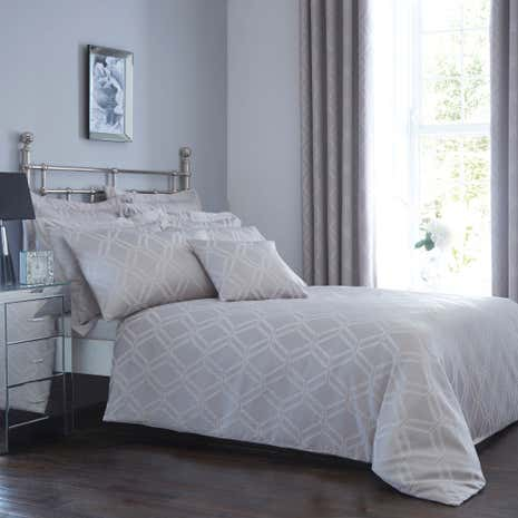 Geo Jacquard Grey Duvet Cover and Pillowcase Set