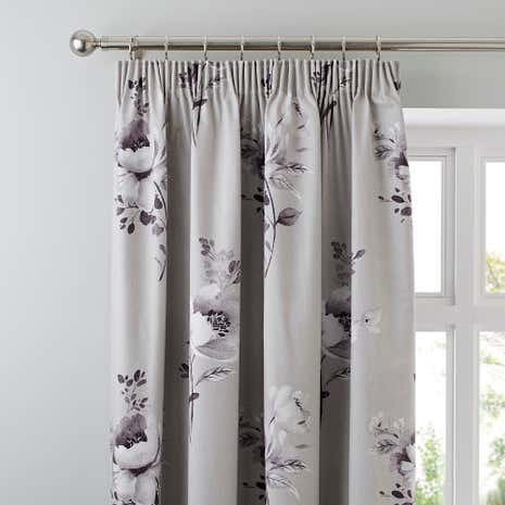 Liana Grey Blackout Pencil Pleat Curtains
