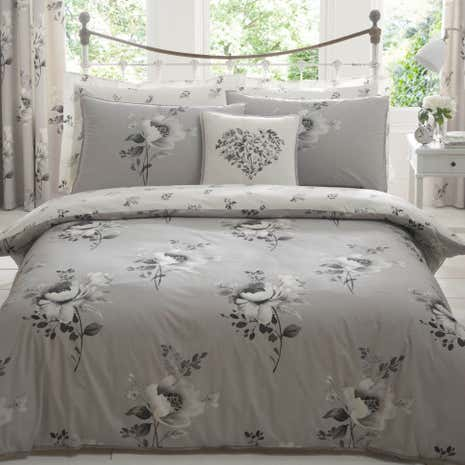 Liana Grey Reversible Duvet Cover And Pillowcase Set