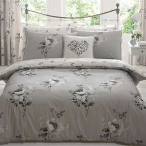Liana Grey Duvet Cover and Pillowcase Set