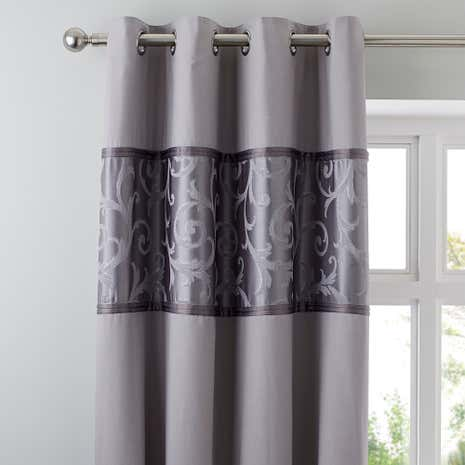 Lucia Silver Blackout Eyelet Curtains