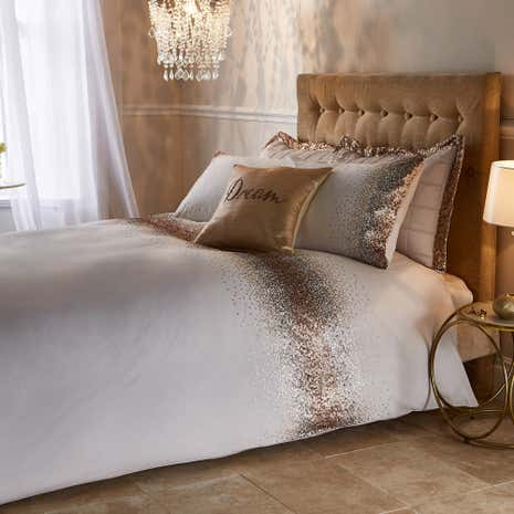 Luna Ombre Sequin Champagne Duvet Cover and Pillowcase Set