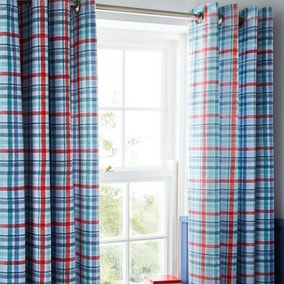 Textured Check Blackout Eyelet Curtains