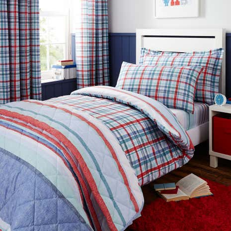 Textured Check Duvet Cover and Pillowcase Set